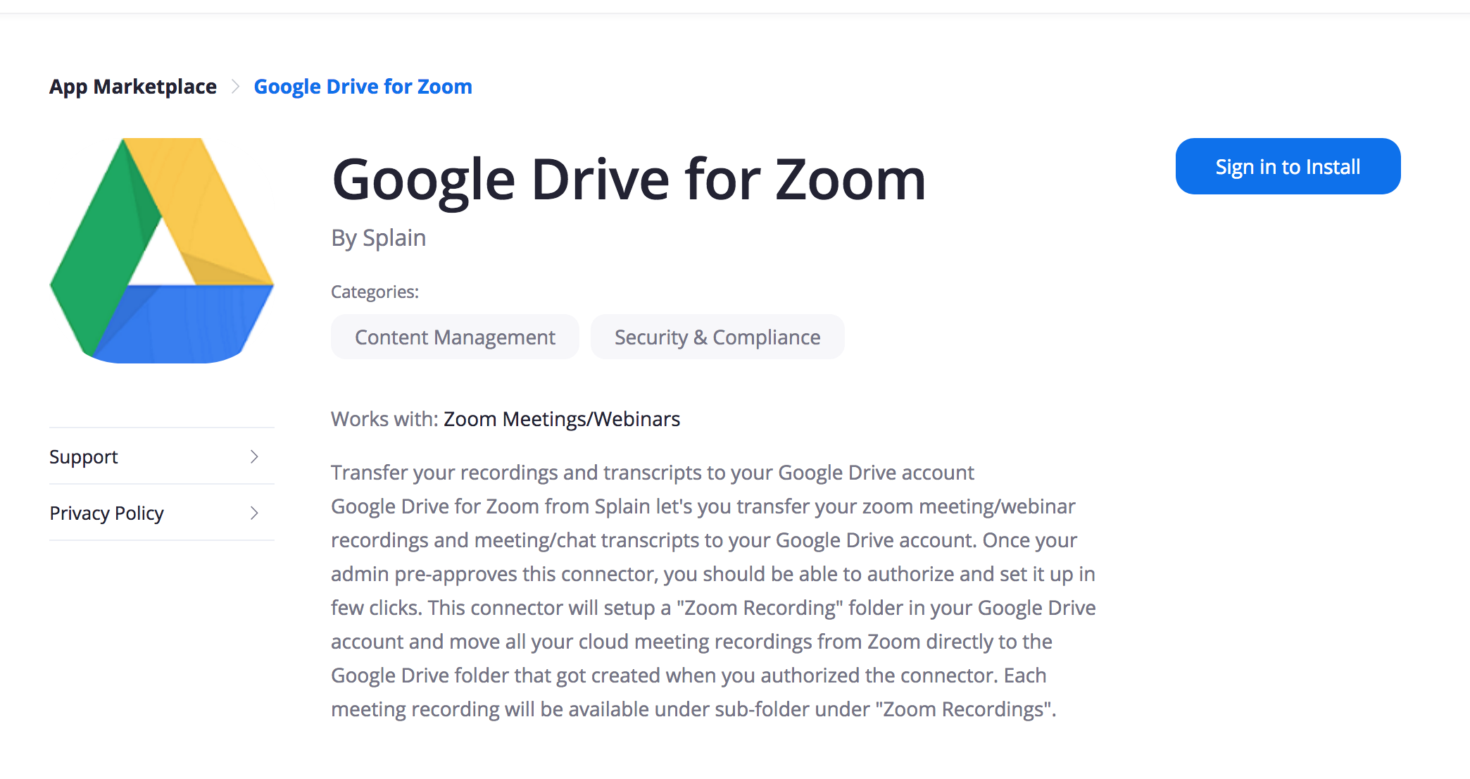 Find the google drive for zoom and sign in with our zoom credentials
