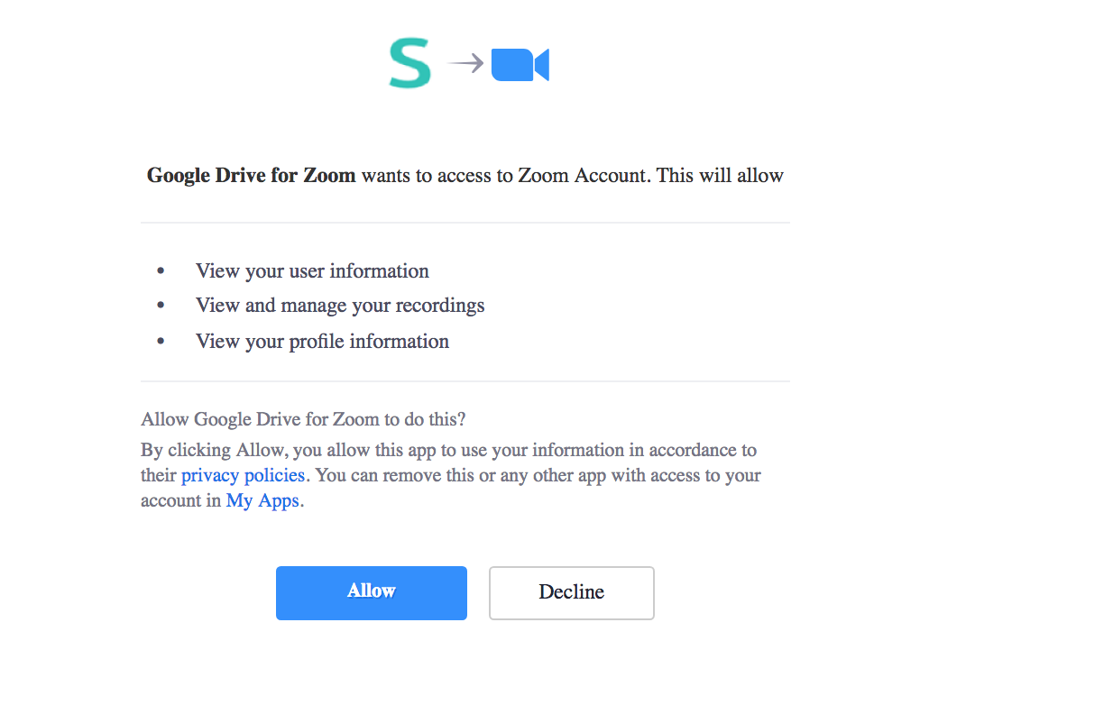 Click on the Allow button to give access to your Zoom account