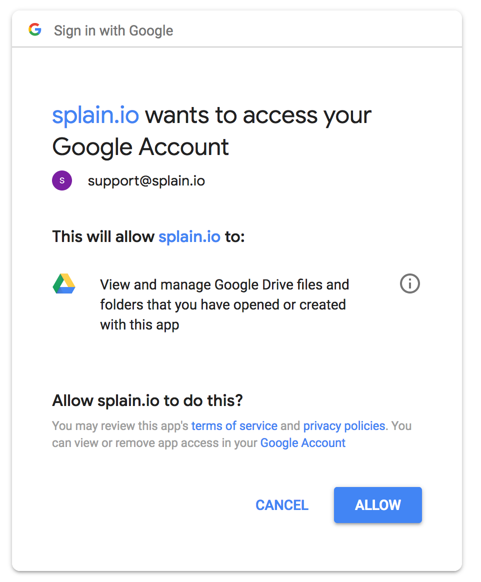 "Click on ""ALLOW"" to provide access to to your Drive account - only for the folder that Splain app will create"